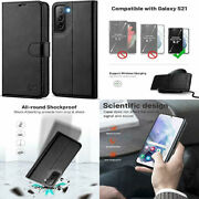 For Samsung Galaxy S21 Wallet Case Shockproof Pu Leather Folio Stand Cover Black