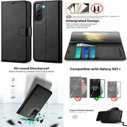 For Samsung Galaxy S21 Plus Wallet Case Shockproof Pu Leather Folio Stand Black