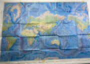 National Geographic 1981 World Ocean Floor Dual Map Display Large Vintage Color