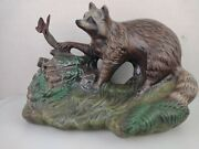 Vintage Atlantic Mold Ceramic Racoon With A Butterfly Figurine