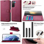 For Samsung Galaxy S21 Wallet Case Premium Pu Leather Stand Folio Cover Burgundy