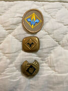 Boy Scout Neckerchief Scarf Slides Lot Of 2 Holders Bsa Cub Wolf Webelos And Patch