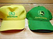 Vintage John Deere Trucker Tractor Hats Owner's Edition Green And Yellow Hat Lot