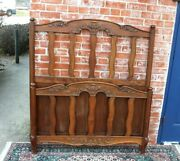 French Antique Carved Walnut Louis Xv Extra Length Twin Size Bed