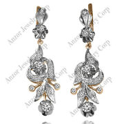Russian Style Hanging Diamond Earrings 585 In 14k Rose And White Gold G-si1 1199.