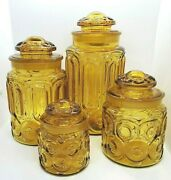 4 Le Smith Amber Moon And Stars Canister Apothecary Set