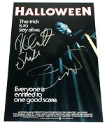 Jamie Lee Curtis And Nick Castle Signed 12x18 And039halloweenand039 Movie Poster W/coa Proof