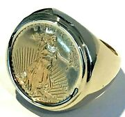 American Gold Eagle Ring 1/4 Oz 18.5g Size 10.75 22kt And 14kt W01