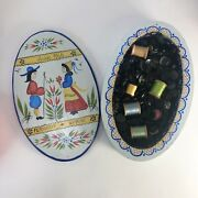 Vintage Hand Painted Wooden Keepsake Box Filled With Vintage Buttons And Thread
