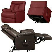 Power Lift Recliner Chair Renu Leather Cushioned Remote Control Side Pocket