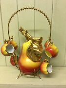 Vintage French Pear Shaped Porcelain Liquor Bottle, Stopper X 6 Cups And Stand Vgc