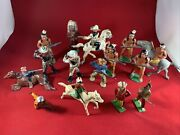 15 Vintage Britains Johillco Lead Cowboy And Indian Toys Lead Soldiers