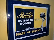 Martin Outboard Boat Fishing Motor Sales Service Garage Advertising Sign 2