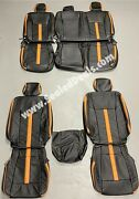 Ford F150 Xl Xlt Supercrew Supercab Custom Leather Seat Covers Black And Orange