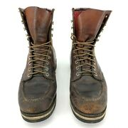 Vintage 1950s 1960s Red Wing Leather Brown Vibram Lined Shoes Work Boots 11