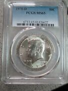 1970-d Kennedy Half Dollar - Pcgs Ms65 - Mint State Certified Graded Coin Ms 65