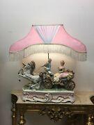 Huge Italian Antique Capodimonte Lovers Horse Carriage Table Lamp Italy Mint