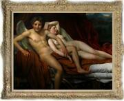 Hand Painted Old Master-art Antique Oil Painting Nude Girl Boy Angel On Canvas