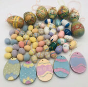 Easter Eggs Decorations Ornaments Crafts Glitter Wood Decoupage Large Lot 60+
