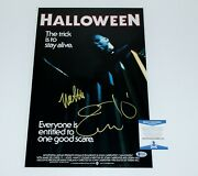 Jamie Lee Curtis Nick Castle Signed And039halloweenand039 Movie Poster Beckett Coa 1978