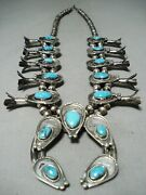 Womenand039s Earth Turquoise Vintage Navajo Sterling Silver Squash Blossom Necklace