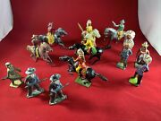13 Vintage Britains Johillco Lead Cowboy And Indian Toys Lead Soldiers