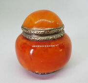 Rare Beautiful Antique Chinese Export Solid Silver And Amber Butterscotch Pot