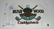 Bill Murray And Chevy Chase Signed Caddyshack Bushwood Golf Pin Flag W/coa Proof