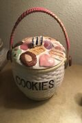 Napco Basket Weave Cookie Jar With All Over Lid And Straw Handle. Rare Find