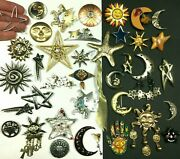Unique Vintage Celestial Sun, Moon, Stars Brooch Lot Rare Some Signed Oo67uc