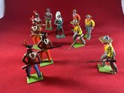 10 Vintage Britains Johillco Lead Cowboy And Indian Toys Lead Soldiers