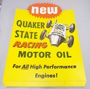 Quaker State Racing Motor Oil Gas Station Sign Diecut Stand Up Not Porcelain '67