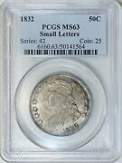 1832 Pcgs Ms63 Bust Half, Decent Luster And Surfaces On This Choice Graded Piece