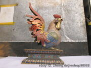 China Royal Pure Bronze Cloisonne Zodiac Rooster Cock Chicken Statue