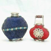 Old Two 1950s Vintage Beautiful Handmade Cloth Covered Brass Medicine Bottles12