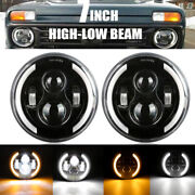 7 Drl Led Headlights Projector High/low White/amber For Ford Mustang 1965-1978