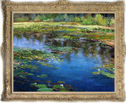 Hand-painted Original Oil Painting Art Landscapes Water Lily On Canvas 30x40