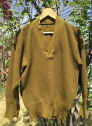 Vintage 1940and039s Wwii Us Army Military V Neck Heavy Wool Uniform Sweater. Rare.