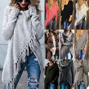 Women Irregular Tassel Knitted Cardigan Coat Jacket Sweater Warp Shawl Waterfall