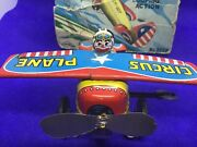 Yone Made In Japan 1960s Metal Wind Up Turn Over Circus Plane With Box