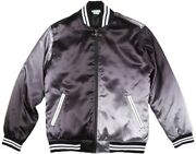 Nwt 115 Men's Lrg Lifted Research Group Satin Bomber Jacket Silver Black 3xl