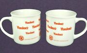 Set Of 2 Hardees Caution Contents Hot Coffee Cup Mug White Orange