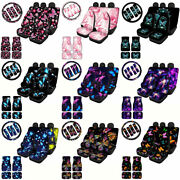 11/13pc Butterfly Car Seat Covers Full Floor Mats+seat Belt+steering Wheel Cover