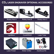Co2 Laser Engraver Accessories Laser Tube Power Rotary Axis Water Chiller 50w+