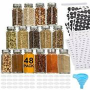 48 Pcs Glass Spice Jars/bottles -4oz Empty Square Spice Containers With 810spice