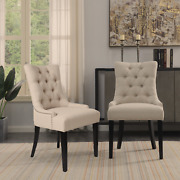 Beautiful Antique Style Dining Chair 6pc Set Upholstered Beige Fabric Furniture