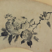 Japanese Painting Hanging Scroll Japan Pomegranate Fan Antique Picture Old 856p