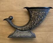 Antique India 825 Hand Etched Gold Inlay Horn Ashtray / Unique / Rare