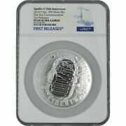 2019-p Apollo 11 50th Anv 5 Oz Proof Silver Coin Ngc Pf69 Uc First Releases 19ch