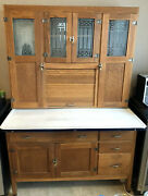 Antique Oak Hoosier Cabinet 1920andrsquos Oak With Etched Glass Sellers American